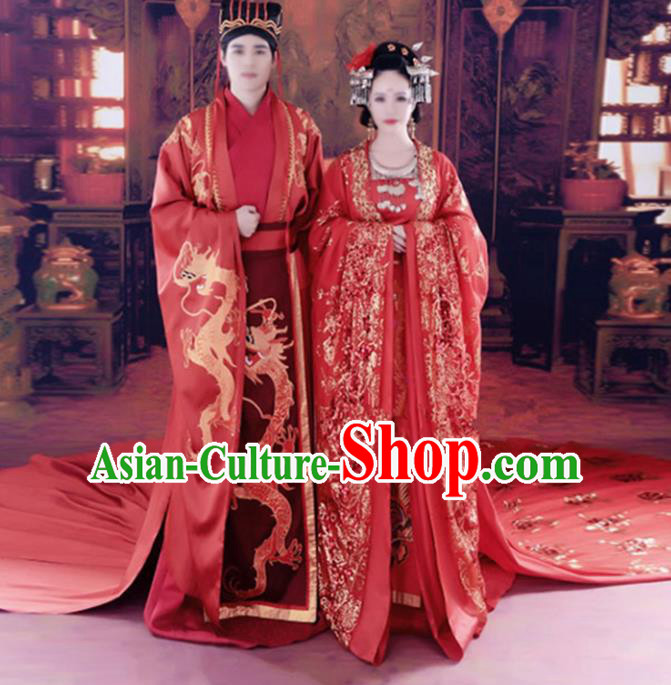 Chinese Ancient Tang Dynasty Emperor and Empress Embroidered Wedding Costumes Complete Set