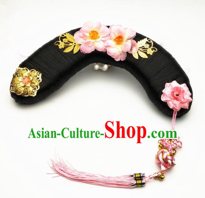 Chinese Ancient Qing Dynasty Princess Hair Accessories Palace Lady Pink Flowers Hairpins and Wigs for Kids