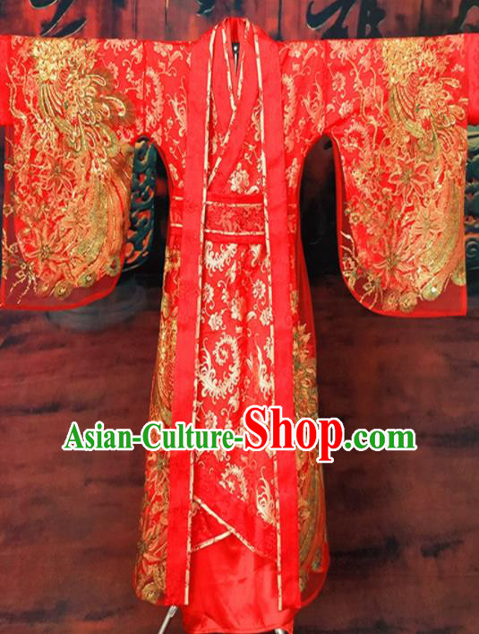 Chinese Han Dynasty Empress Embroidered Wedding Costume Ancient Bride Red Hanfu Dress for Women