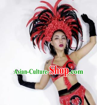 Professional Stage Performance Hair Accessories Brazilian Carnival Feather Headwear for Women