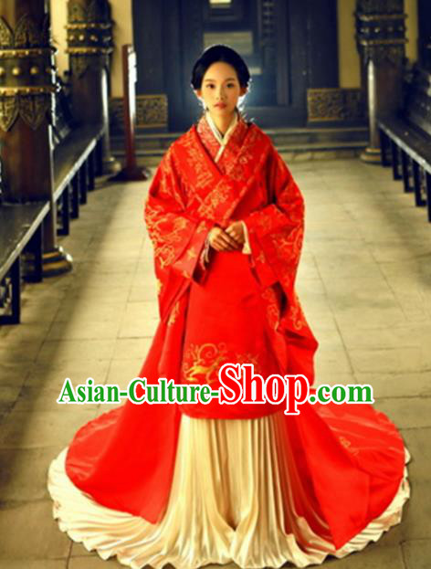 Chinese Han Dynasty Imperial Consort Costume Ancient Bride Red Hanfu Dress for Women