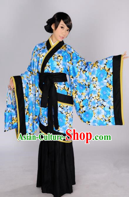 Chinese Traditional Han Dynasty Princess Blue Hanfu Dress Ancient Maidenform Costumes for Women