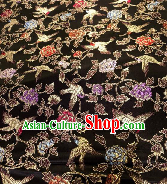 Chinese Traditional Black Silk Fabric Cheongsam Tang Suit Brocade Peony Pattern Cloth Material Drapery