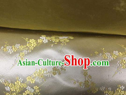 Chinese Traditional Golden Silk Fabric Cheongsam Tang Suit Brocade Plum Blossom Pattern Cloth Material Drapery