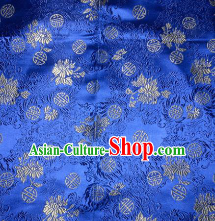 Chinese Traditional Royalblue Silk Fabric Tang Suit Brocade Cheongsam Flowers Pattern Cloth Material Drapery