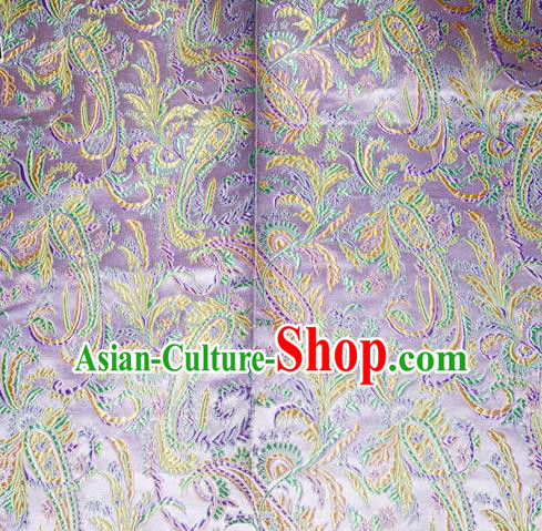 Chinese Traditional Lilac Silk Fabric Tang Suit Brocade Cheongsam Palace Pattern Cloth Material Drapery