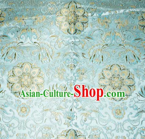 Chinese Traditional Silk Fabric Tang Suit Blue Brocade Cheongsam Palace Pattern Cloth Material Drapery