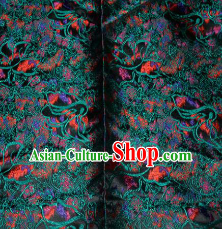 Chinese Traditional Silk Fabric Tang Suit Brocade Cheongsam Classical Green Pattern Cloth Material Drapery