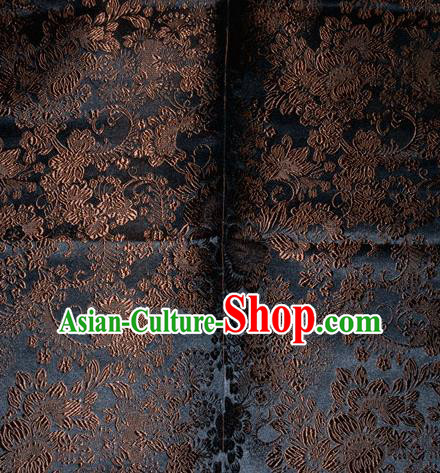 Chinese Traditional Silk Fabric Tang Suit Black Brocade Cheongsam Classical Pattern Cloth Material Drapery