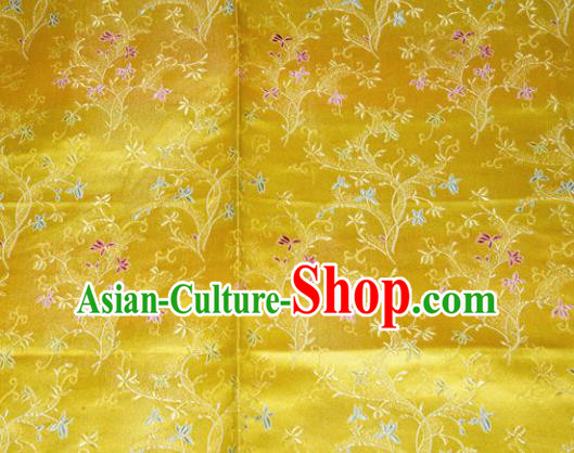 Chinese Traditional Silk Fabric Poplar Blossom Pattern Tang Suit Yellow Brocade Cloth Cheongsam Material Drapery