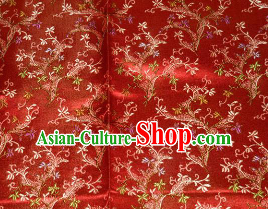 Chinese Traditional Silk Fabric Poplar Blossom Pattern Tang Suit Red Brocade Cloth Cheongsam Material Drapery