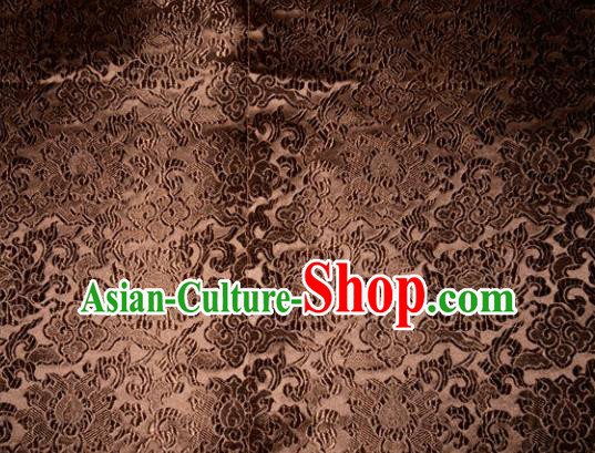 Chinese Traditional Brown Silk Fabric Tang Suit Brocade Cheongsam Classical Pattern Cloth Material Drapery