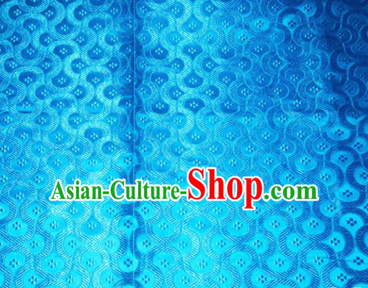 Chinese Traditional Blue Silk Fabric Tang Suit Brocade Cheongsam Classical Pattern Cloth Material Drapery
