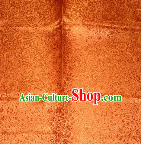 Chinese Traditional Cheongsam Orange Silk Fabric Tang Suit Brocade Classical Pattern Cloth Material Drapery