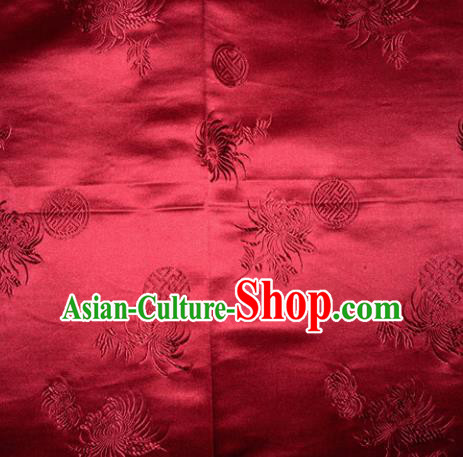 Chinese Traditional Cheongsam Silk Fabric Tang Suit Wine Red Brocade Classical Chrysanthemum Pattern Cloth Material Drapery