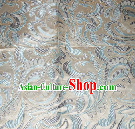 Chinese Traditional Cheongsam Silk Fabric Tang Suit Beige Brocade Classical Cockscomb Pattern Cloth Material Drapery