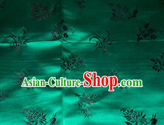 Chinese Traditional Cheongsam Green Silk Fabric Tang Suit Brocade Classical Plum Blossom Orchid Bamboo Chrysanthemum Pattern Cloth Material Drapery
