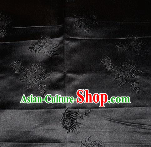 Chinese Traditional Classical Chrysanthemum Pattern Black Silk Fabric Tang Suit Brocade Cloth Cheongsam Material Drapery