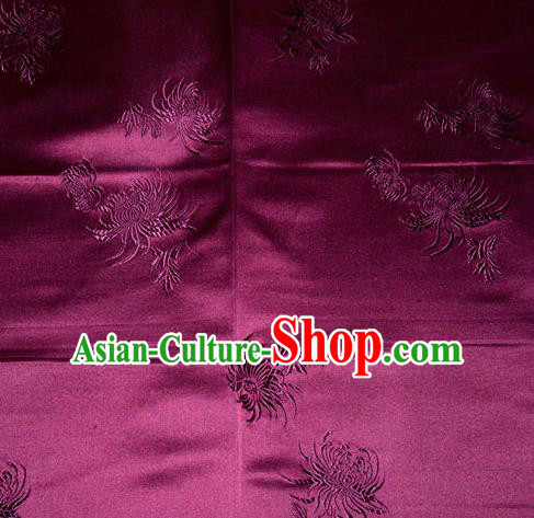 Chinese Traditional Classical Chrysanthemum Pattern Purple Silk Fabric Tang Suit Brocade Cloth Cheongsam Material Drapery