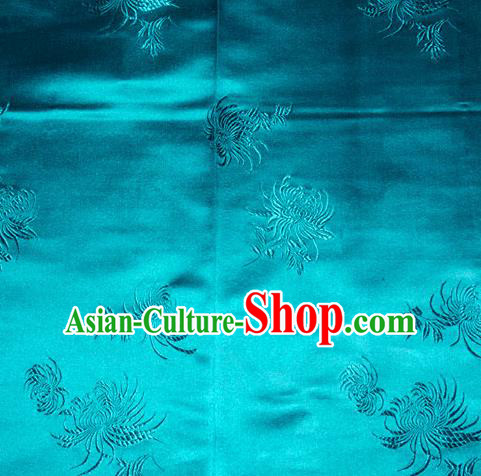 Chinese Traditional Classical Chrysanthemum Pattern Blue Silk Fabric Tang Suit Brocade Cloth Cheongsam Material Drapery