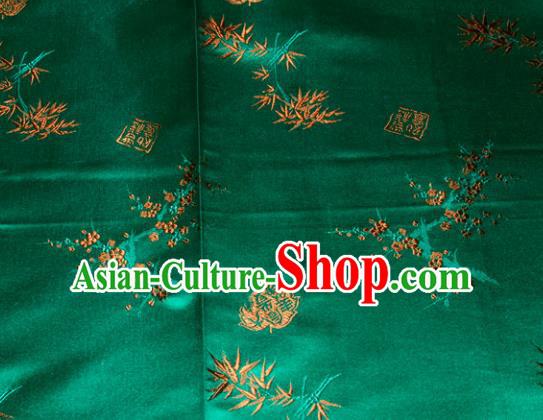 Chinese Traditional Silk Fabric Plum Blossom Bamboo Pattern Tang Suit Green Brocade Cloth Cheongsam Material Drapery