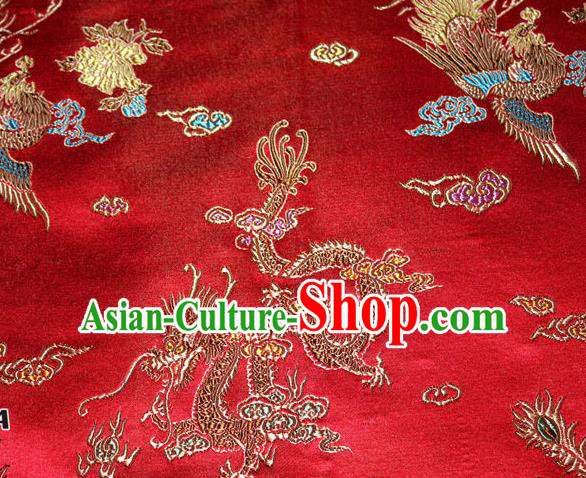 Chinese Traditional Silk Fabric Dragon Phoenix Peony Pattern Tang Suit Red Brocade Cloth Cheongsam Material Drapery