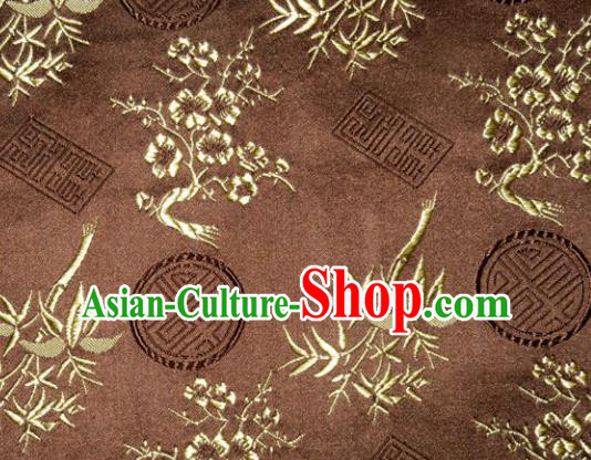 Chinese Traditional Silk Fabric Plum Blossom Bamboo Pattern Tang Suit Brown Brocade Cloth Cheongsam Material Drapery