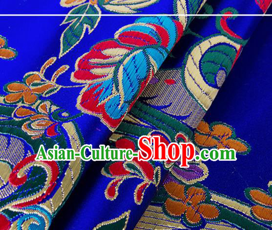 Chinese Traditional Royalblue Silk Fabric Tang Suit Classical Flowers Pattern Brocade Cloth Cheongsam Material Drapery