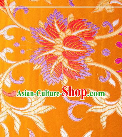Chinese Traditional Yellow Brocade Fabric Tang Suit Classical Flowers Pattern Silk Cloth Cheongsam Material Drapery