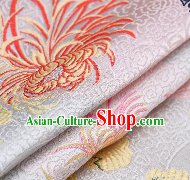 Chinese Traditional White Brocade Fabric Chrysanthemum Pattern Tang Suit Silk Cloth Cheongsam Material Drapery