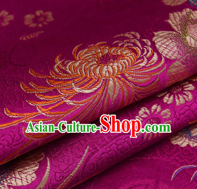 Chinese Traditional Amaranth Brocade Fabric Chrysanthemum Pattern Tang Suit Silk Cloth Cheongsam Material Drapery