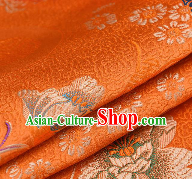 Chinese Traditional Orange Brocade Fabric Chrysanthemum Pattern Tang Suit Silk Cloth Cheongsam Material Drapery