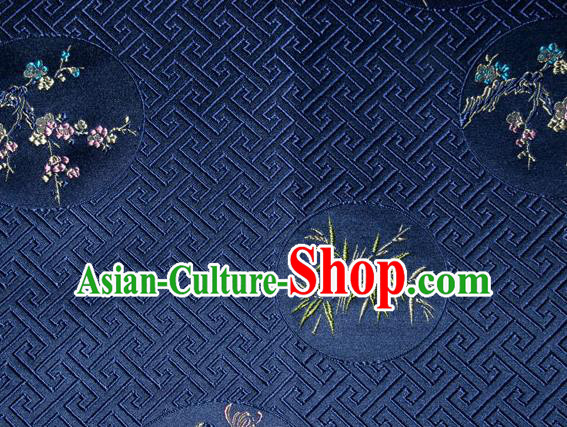Chinese Traditional Silk Fabric Plum Blossom Orchid Bamboo Chrysanthemum Pattern Tang Suit Deep Blue Brocade Cloth Cheongsam Material Drapery