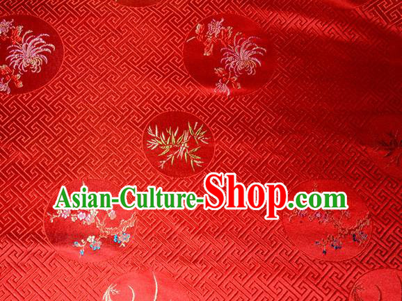 Chinese Traditional Silk Fabric Plum Blossom Orchid Bamboo Chrysanthemum Pattern Tang Suit Red Brocade Cloth Cheongsam Material Drapery