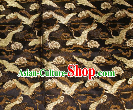 Chinese Traditional Silk Fabric Crane Pattern Tang Suit Black Brocade Cloth Cheongsam Material Drapery