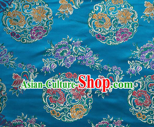 Chinese Traditional Palace Pattern Tang Suit Brocade Blue Fabric Silk Cloth Cheongsam Material Drapery