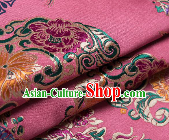 Chinese Traditional Palace Pattern Tang Suit Brocade Pink Fabric Silk Cloth Cheongsam Material Drapery