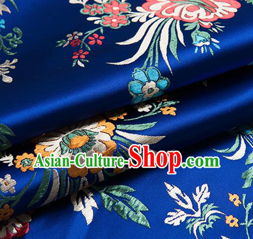 Chinese Traditional Begonia Pattern Tang Suit Royalblue Brocade Fabric Silk Cloth Cheongsam Material Drapery