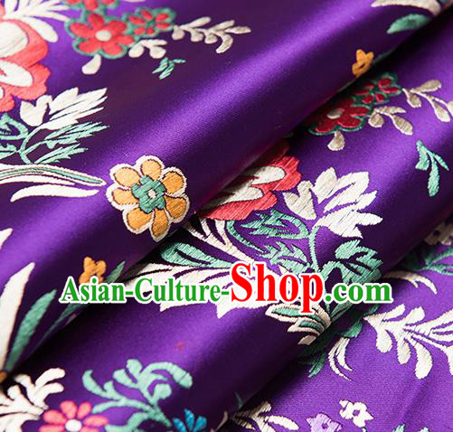 Chinese Traditional Begonia Pattern Tang Suit Purple Brocade Fabric Silk Cloth Cheongsam Material Drapery
