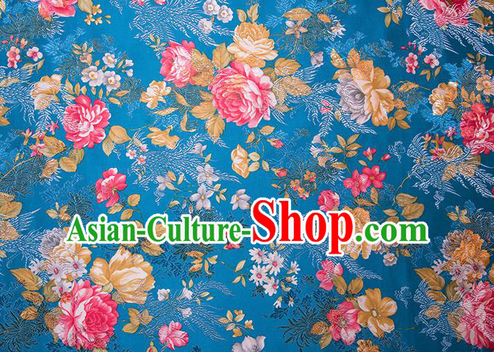 Chinese Traditional Peony Flowers Pattern Tang Suit Blue Brocade Fabric Silk Cloth Cheongsam Material Drapery