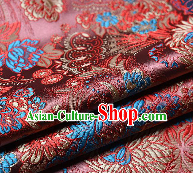 Chinese Traditional Tang Suit Brownish Red Brocade Fabric Peony Pattern Silk Cloth Cheongsam Material Drapery