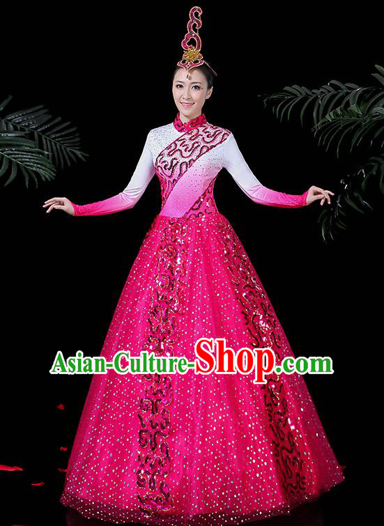 Chinese Classical Dance Costume Traditional Folk Dance Rosy Dress for Women