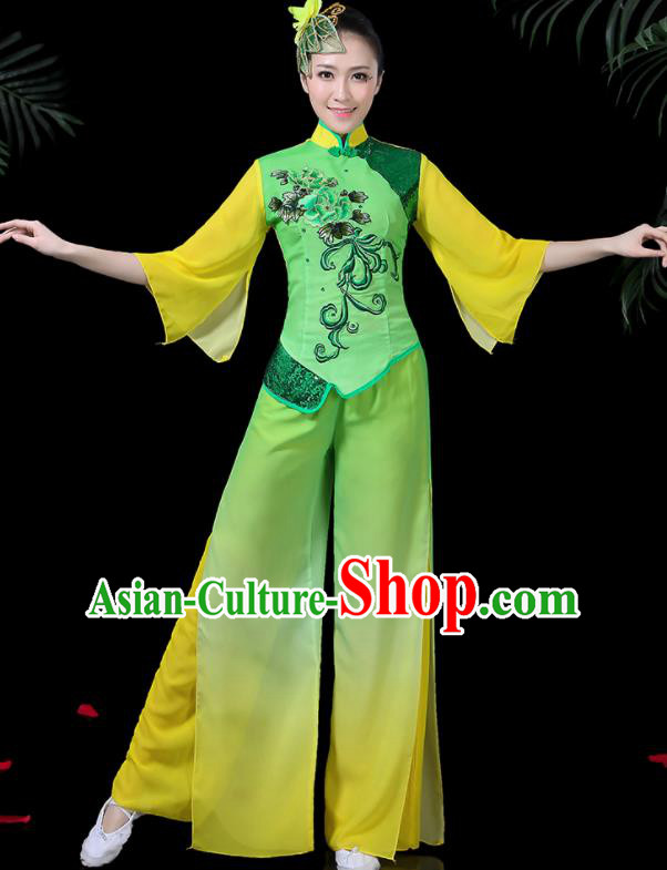 Chinese Classical Umbrella Dance Green Costume Traditional Folk Dance Yangko Clothing for Women