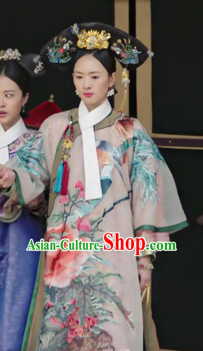 Chinese Ancient Qing Dynasty Imperial Consort Ruyi Royal Love in the Palace Costumes and Headpiece for Women