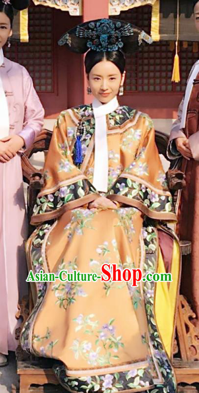 Ancient Chinese Qing Dynasty Empress Ruyi Royal Love in the Palace Embroidered Costumes and Headpiece for Women