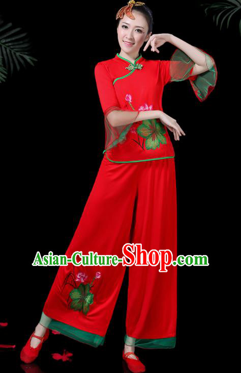 Chinese Classical Drum Dance Red Costume Traditional Folk Dance Lotus Dance Yangko Clothing for Women
