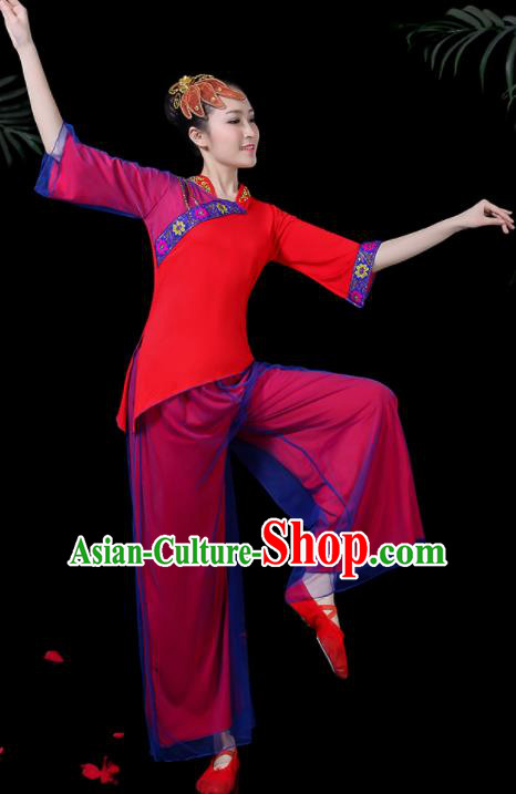 Chinese Classical Drum Dance Costume Traditional Folk Dance Fan Dance Yangko Red Clothing for Women