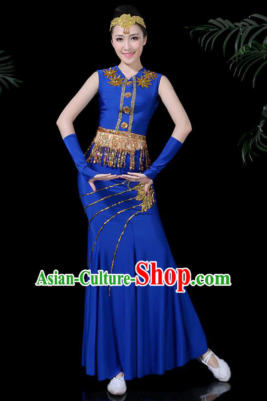 Chinese Traditional Classical Peacock Dance Royalblue Dress Dai Minority Folk Dance Costume for Women