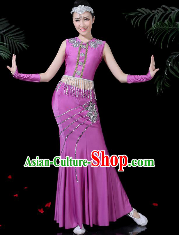 Chinese Traditional Classical Peacock Dance Purple Dress Dai Minority Folk Dance Costume for Women
