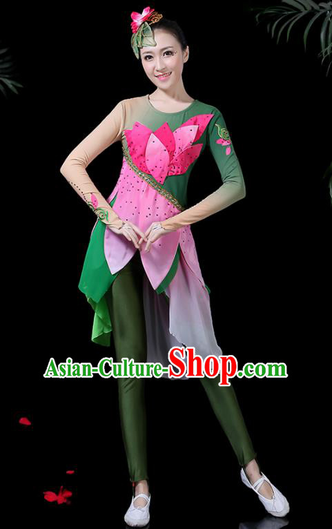 Chinese Classical Umbrella Dance Costume Traditional Folk Dance Fan Dance Lotus Clothing for Women